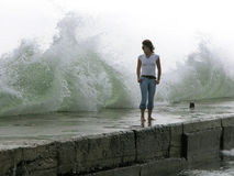 Girl under the wave Stock Photography