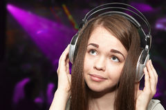 Girl  in an underground club Royalty Free Stock Photos