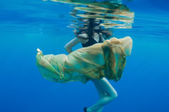 Girl underwater Stock Photo