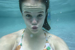 Girl Underwater Expressions Stock Photos