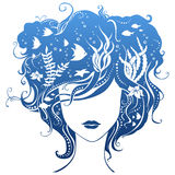 Girl with underwater life in hair. Illustration has abstract elements, patterns Royalty Free Stock Images