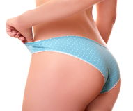 Girl in underwear. Girl with beautiful ass in blue underwear Stock Images