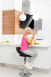 Girl unhappy diet eating healthy vegetable fresh Stock Photography