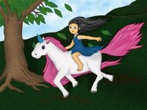 Girl on unicorn Stock Photo