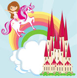 Girl on a unicorn flying on a rainbow Stock Photos