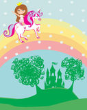 Girl on a unicorn flying on a rainbow Stock Images