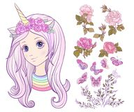 Girl with a unicorn horn and colored long hair and set of rose, Royalty Free Stock Photography