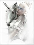 Girl with a unicorn stock illustration