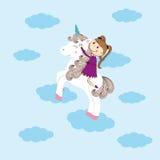 Girl and unicorn Stock Photo
