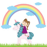 Girl and unicorn Royalty Free Stock Photography