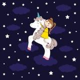 Girl and unicorn Royalty Free Stock Image