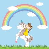 Girl and unicorn Stock Photography