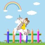 Girl and unicorn Royalty Free Stock Photos