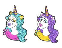 Girl unicorn vector head with mane and horn. Unicorn sticker isolated on white. Portrait girl unicorn sticker, patch badge. m. Cute girl with horn like unicorn Vector Illustration