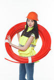 Girl uniform coil pipe plastic Royalty Free Stock Image