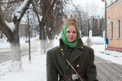 Girl in uniform on the streets before the celebration of a milit Stock Photo