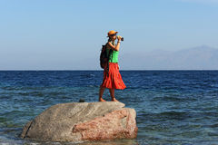 Girl on uninhabited island Royalty Free Stock Images