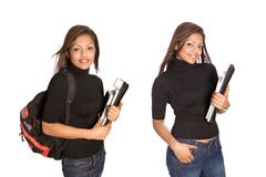 Girl university student, isolated stock images