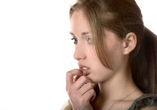 Girl in the upset feelings close up Stock Images