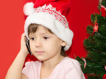 Girl upset telephone conversation Royalty Free Stock Photography