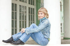 Girl in an urban denim clothes Royalty Free Stock Photos