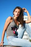 Girl in urban landscape Royalty Free Stock Photography