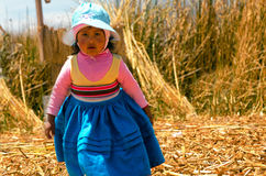 Girl on Uros Floating Islands Royalty Free Stock Photos