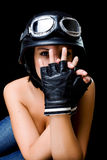 Girl with US Army-style helmet Royalty Free Stock Image