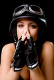 Girl with US Army-style motorcycle helmet Stock Photos