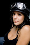 Girl with US Army-style motorcycle helmet Royalty Free Stock Photo
