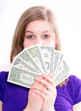 Girl with US Dollars Royalty Free Stock Photo
