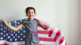 Girl and USA American Flag. Girl  shouting teen holding American flag usa stock footage