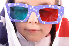 Girl and usa flag Royalty Free Stock Image