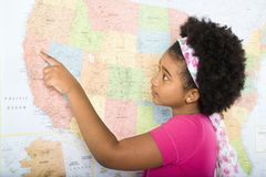 Girl with USA map. Royalty Free Stock Photos