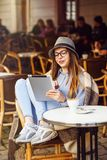 Girl Use Tablet PC Stock Photography