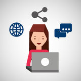 Girl user laptop share bubble speak world Stock Photo
