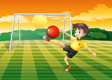 A girl using the ball with the flag of China Stock Photo