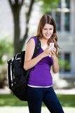 Girl using cell phone. Pretty college girl busy texting on cell Stock Photography