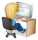Girl using computer royalty free illustration