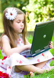 Girl using her laptop outdoor Stock Images