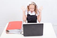 Girl using his laptop computer Royalty Free Stock Photos