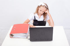 Girl using his laptop computer Stock Images