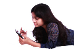 Girl using internet banking Stock Photos