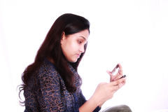 Girl using internet banking Stock Photo