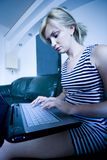 Girl using keyboard Stock Photo