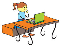 Girl using laptop Royalty Free Stock Images