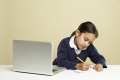 Girl using laptop Stock Images