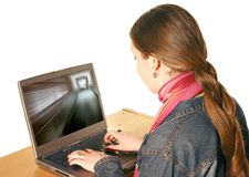 Girl using laptop 3 Stock Photos