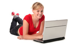 Free Girl Using Laptop Stock Photography - 3261522