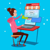 Girl Using Laptop Computer Cyber Monday Big Sale Shopping Royalty Free Stock Photography